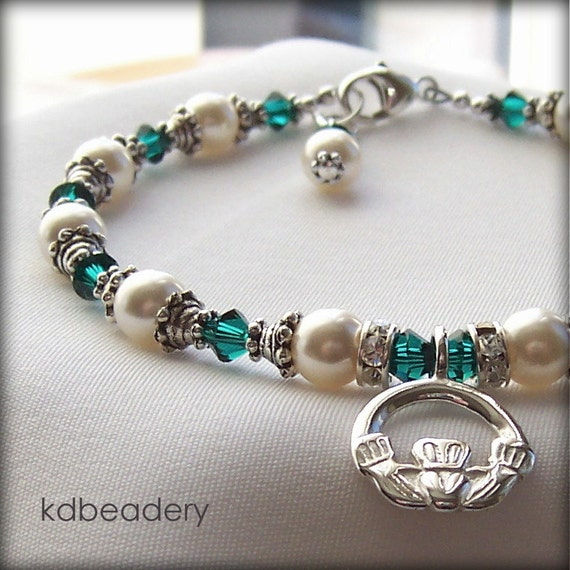 Irish Eyes. Claddagh Bracelet. Swarovski Pearls, St. Patrick's Day. Bridal.