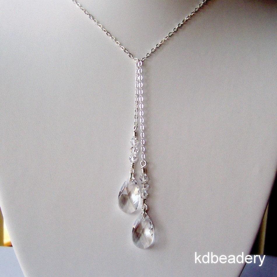 Sparktacular Swarovski Crystal Lariat Necklace Sterling