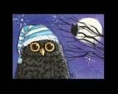 Baby owl, owl art, moonlit night, ACEO PRINT