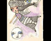 Original Pen and Ink Illustration  Girl Over the moon  on Vintage page