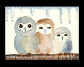 ACEO  Barn Owl Babies hudled against winter cold Original