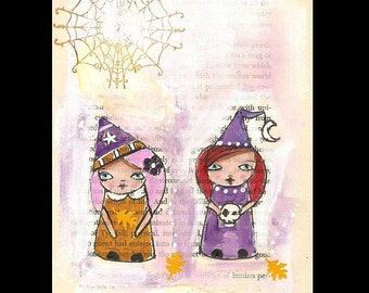 Kokeshi illustration, witch, Whimscial art, pen and ink,Original Illustration, Halloween art
