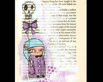 Kokeshi art, witch, one of a kind art,  Pen and Ink art, Original Illustration, original drawing