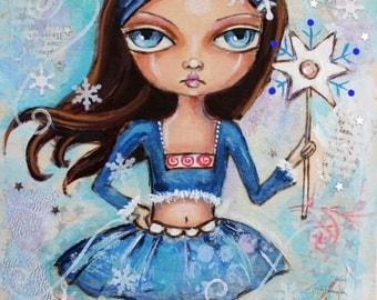 Whimsical painting, Snow Fairy. Big Eyed girl, Original Mixed media Painting, Childrens Art, holiday art