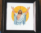 Resurrected Christ in Cross Stitch