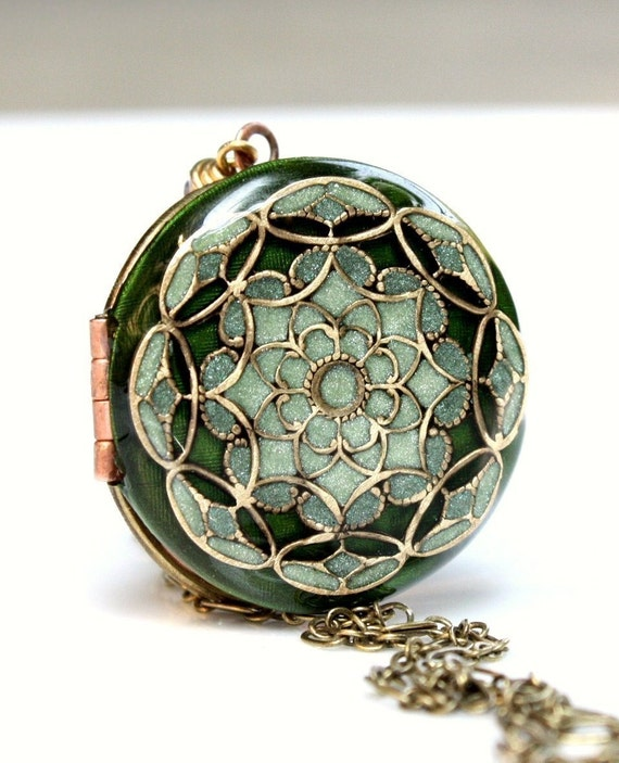 Vintage Locket with Shades of Emerald Green, Sage, Olive