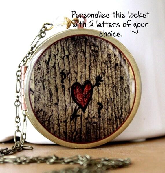 Locket, Wedding Necklace, Tree Locket, Personalized Gift, Wedding Favor, Heart Locket, Vintage Locket