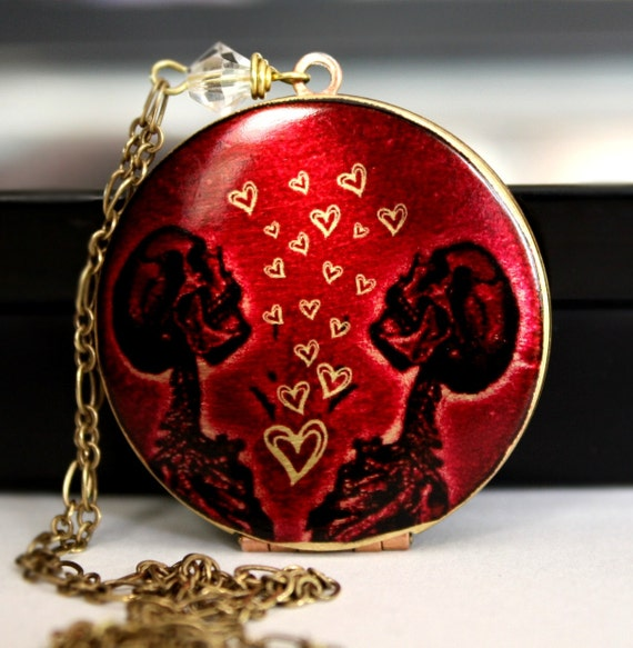 Locket,Weddings, Skeleton Necklace, Gothic Wedding, Hearts, Red Necklace, Image Locket, Romantic Gift