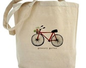 Grocery Getter Red Bicycle Market Tote Bag