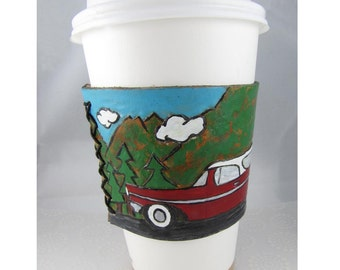 Leather Cup Cozy - Road Trip'n