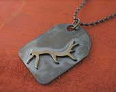 Antler dog tag necklace