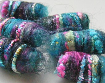 We have no idea where we're going but we're positive we are on our way. Fiber Beads, Artisan Jewelry bead, dread hair tube, macrame bead