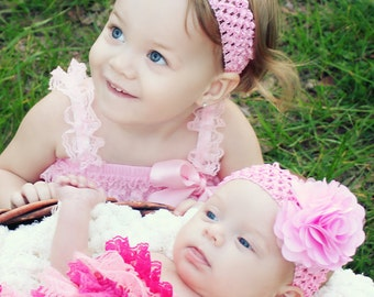 Pink matching headbands for sisters newborn baby  toddler and tween sizes available