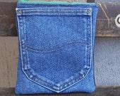SALE - 7-inch Recycled Denim Pouch