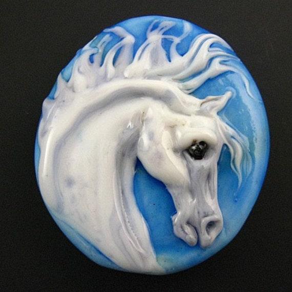 Kerribeads Lampwork Phantom Horse Focal Bead