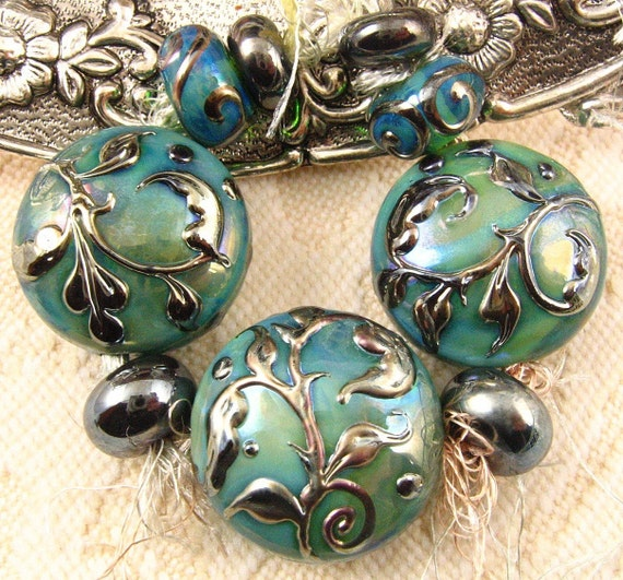 Lampwork Silver Blue Green Tapestry Bead Set by Kerribeads