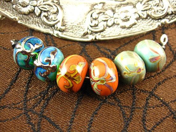 Lampwork Tapestry Beads pairs by Kerribeads