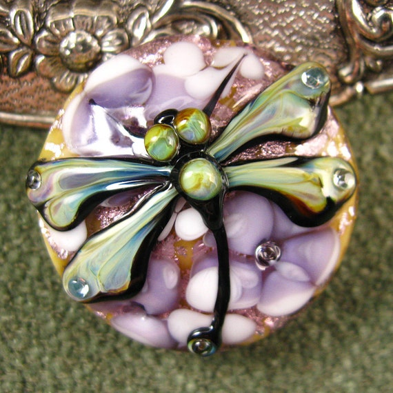 FREE SHIPPING Lampwork Dragonfly Garden Focal Bead by Kerribeads