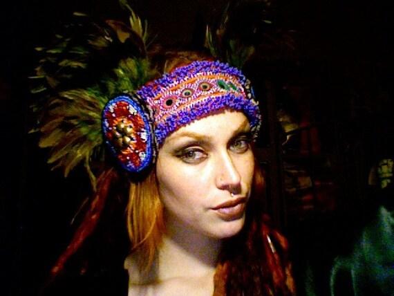 Reserved For Jessie - Gauld Afghani Artemis Feather Fan Headdress.