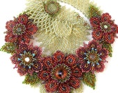 Beaded Flowers in Red and Purple Midsummer Blossom Necklace