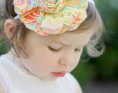 All I Need Is Love - Retro Chic and Shabby Frayed Fabric Flower Headband - Orange Yellow Green - Reminds me of the 1970s