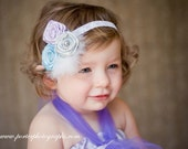 After the Rain - Trio of  Satin Blue Purple and Silver Rosettes Headband for Girls Toddler or Women with Feathers and a Pearl - Photo Prop