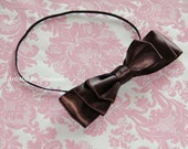 Chocolate Kiss - Brown Satin Bow for Newborn Infant Baby Toddler Girl or Women Hair Accessories - Great Photo Prop