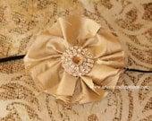 Vintage Wedding - Handmade Beige Champagne Dupioni Silk Flower headband, Newborn Baby Photography Prop Handmade Headband  for Girls