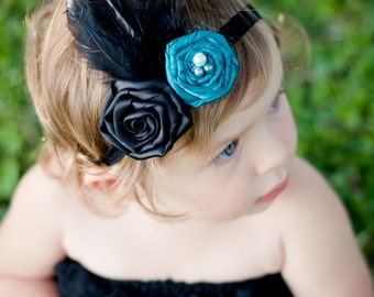 Juliette - Handmade Baby or Women Headband Fascinator with Aqua and Black Rosettes Feathers Birdcage Veil and Pearls - Suitable for All Ages