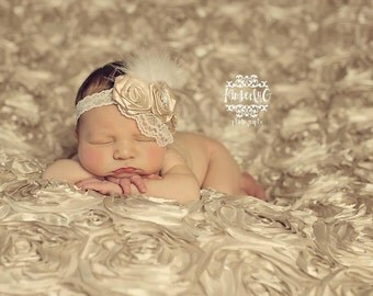 Glass of Champagne - HEADBAND for Newborn Baby Girl or Any Age - in Beige Cream with Lace Fur - Photo Prop HOT SELLER