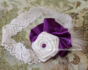 Posh Babe - White Rosette, Purple Ruffle Headband for Girls, Toddlers or Women, Photography Prop for Newborns