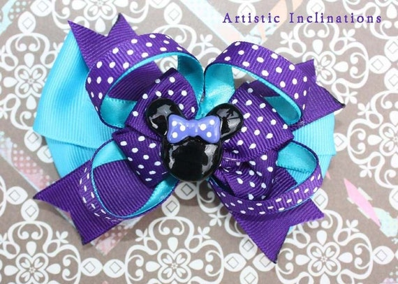 Aqua and Purple Minnie Hairbow - Handmade Bow for Girls, Baby Bow, Purple with White Dots Bow