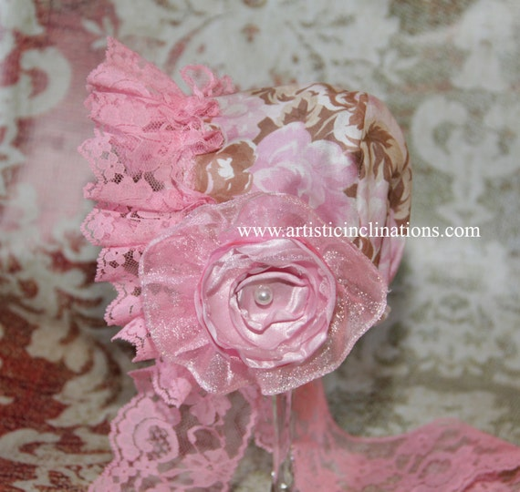 Mia Bella - READY TO SHIP - Newborn Bonnet, Newborn Baby Bonnet, Girls Bonnet, Handmade Bonnet with Lace, Pink Bonnet, Baby Hat, Pink Hat