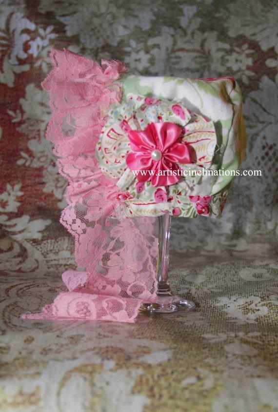 Forget Me Not -  REVERSIBLE BABY BONNET, Handmade Girls Pink Bonnet, Pink Lace, Newborn Bonnet, Pink Lace, Handmade Flower, Photo Prop