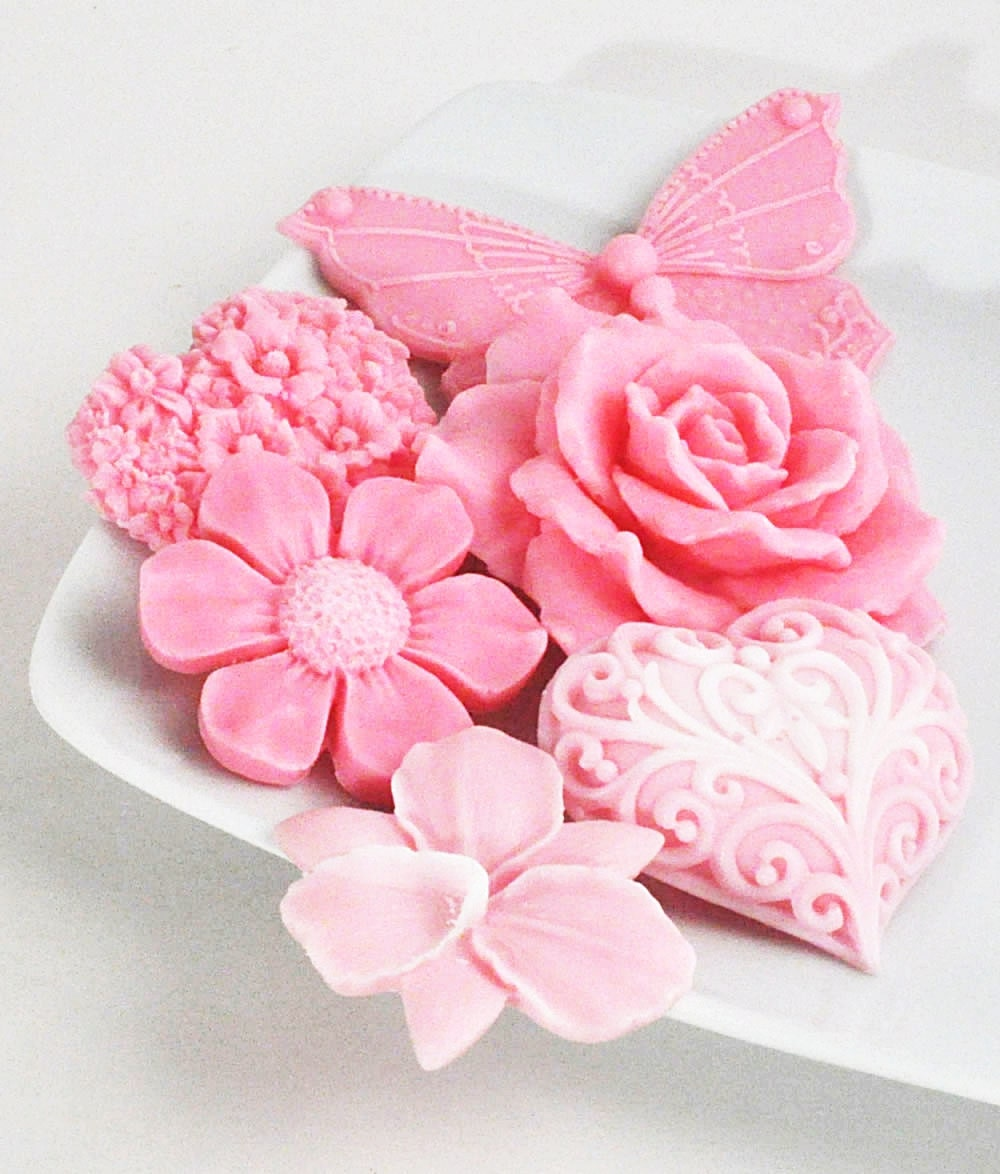 Spring Flowers In Pink Soap Set Beautiful Decorative Flower