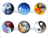 Ying yang 1 inch round bottlecap graphic images 300dpi