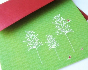 Birds and Berry Branches - Card set of 8 - green and blue