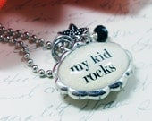 My Kid Rocks/Blessed Mom Double Sided Oval Bubble Necklace/Charm/Pendant