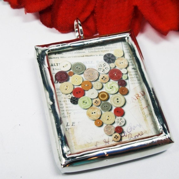 Button Up My Heart Double Sided Collage Soldered Pendant