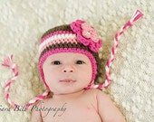 Striped Neopolitan Flower EARFLAP HAT Cotton Sizes 0 - 24 months