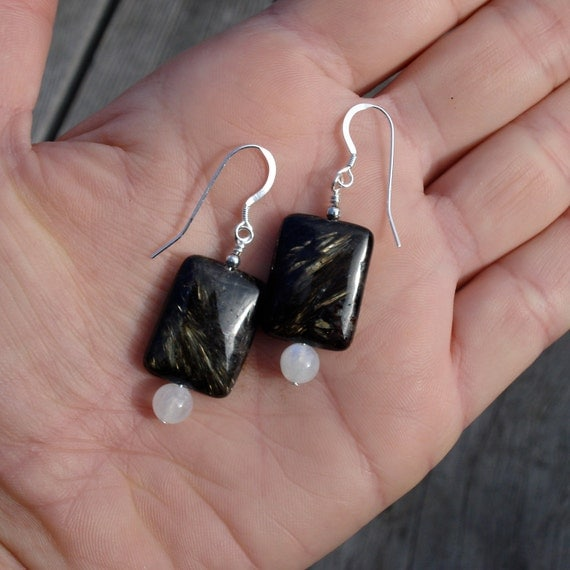 Nuummite and Moonstone Sterling Silver Earrings - Extremely Rare and Powerful Manifestation Gemstone - Earth Goddess - Last Pair