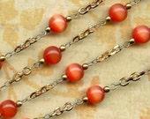 Vintage Chain with 8mm Orange Glass Beads x 3 Feet