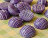 Vintage Glass Cabochons - 11mm Japanese Purple and White Cabs (54-9F-12)
