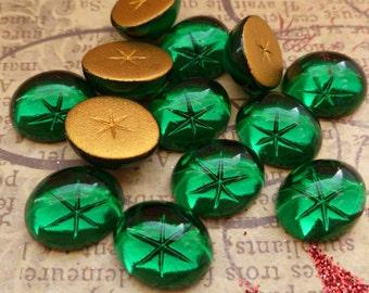 Vintage Swarovski Glass Cabochons 12x10mm Emerald Star (34-14F-6)