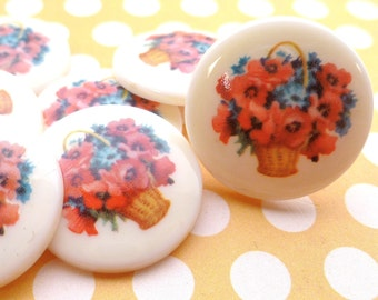 Four Vintage German 25mm Floral Acrylic Cabs (9-10-4)