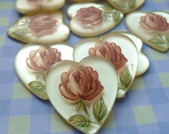 Cabochons - 18x17mm Vintage Acrylic Rose Heart Cabs (23-5F-4)