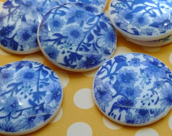 Two Vintage Plastic Cabochons with Blue Flowers (45-2B-2)