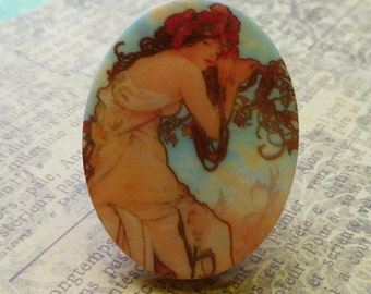 Two 40x30mm Romantic Alphonse Mucha Acrylic Cabs (52-5F-2)