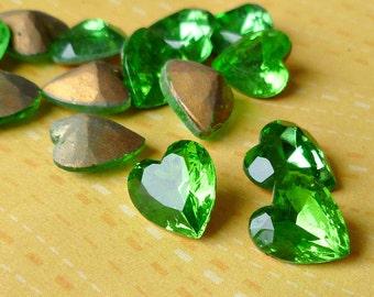 Peridot Green Glass Rhinestone Gold Foiled Heart Jewels (55-6B-12)