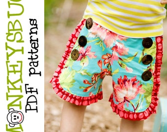 Sweet Sailor Ruffle Shorts PDF eBook Pattern INSTANT DOWNLOAD